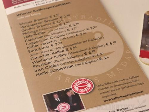 Kávový lístok v Zum Fürsten